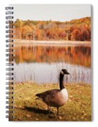 Earth Tone Autumn Pond Goose Spiral Notebook
