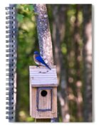 Eastern Bluebird Perched On Birdhouse 2 Spiral Notebook