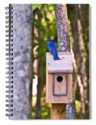 Eastern Bluebird Perched On Birdhouse Spiral Notebook