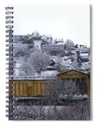 Edinburgh Castle And National Galleries Of Scotland In Winter Spiral Notebook