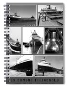 Edmund Fitzgerald Black And White Spiral Notebook