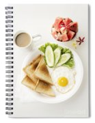 Egg Salad Toast Fruit And Coffee Breakfast Set Spiral Notebook