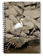 Egret Fishing Spiral Notebook