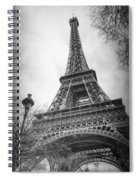 Eiffel Tower And Lamp Post Bw Spiral Notebook