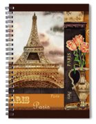 Eiffel Tower And Roses Spiral Notebook