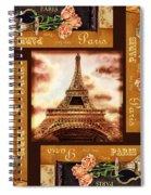Eiffel Tower Roses Dance Spiral Notebook