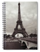 Eiffel Tower With Bridge In Sepia Spiral Notebook