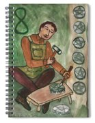 Eight Of Pentacles Illustrated Spiral Notebook