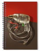 Electric Drill Motor, Green Trigger On Colored Paper Spiral Notebook