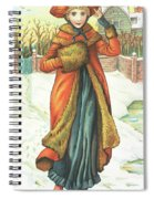 Elegant Lady In Snow, Christmas Card Spiral Notebook
