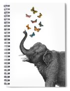 Elephant Blowing Butterflies From His Trunk Spiral Notebook
