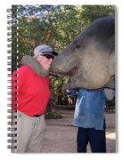 Elephant Kissing Man Holding Bananas Spiral Notebook