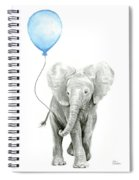 Elephant Watercolor Blue Nursery Art Spiral Notebook