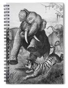 Elephants And Tiger, 1890 Spiral Notebook