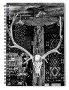 Elk Skull In Black And White Spiral Notebook