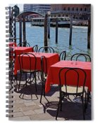 Empty Canal Side Tables Awaiting Hungry Customers In Venice, Italy  Spiral Notebook