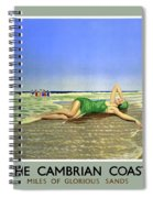 England Cambrian Coast Vintage Travel Poster Spiral Notebook