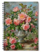 English Elegance Roses In A Silver Vase Spiral Notebook