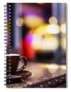 Espresso Coffee Cup In Cafe At Night Spiral Notebook