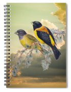 Ethereal Birds On Snowy Branch Spiral Notebook