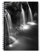 Evening Plunge Waterfall Black And White Spiral Notebook