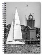 Evening Sail At Holland Light - Bw Spiral Notebook