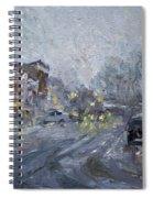 Evening Snowfall At Webster St Spiral Notebook