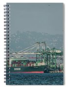Evergreen Freight Ship And Cargo In Port Of Oakland, California Spiral Notebook