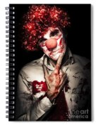 Evil Blood Stained Clown Contemplating Homicide Spiral Notebook