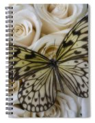 Exotic Butterfly On White Roses Spiral Notebook