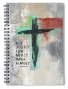 Expressionist Cross Love Mercy- Art By Linda Woods Spiral Notebook