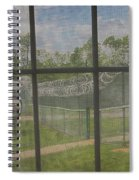 Prison Yard With Razor Wire, Guard House And Satellite Dish Spiral Notebook