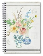 Faded Glory Chinoiserie - Floral Still Life 2 Blush Gold Cream Spiral Notebook