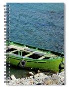 Faded Green Yellow Motor Power Boat Parked At Satpara Lake Pakistan Spiral Notebook