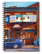 Fairmount Bagel With Blue Car  Spiral Notebook