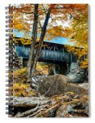 Fall Colors Over The Flume Gorge Covered Bridge Spiral Notebook