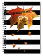 Fall Leaf Love Typography On Black And White Stripes Spiral Notebook