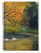 Fall Pond With Swans Spiral Notebook