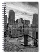 Fan Pier Boston Harbor Bw Spiral Notebook