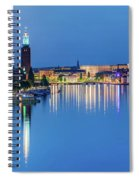Fantastic Stockholm And Gamla Stan Reflection From A Distant Bridge Spiral Notebook