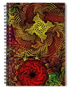 Fantasy Flowers Woodcut Spiral Notebook