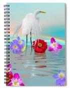 Fantasy Stork-flowers-rainbow On Ocean Spiral Notebook