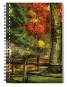 Farm - Fence - On A Country Road Spiral Notebook