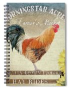 Farm Fresh Barnyard Rooster Morning Sunflower Rustic Spiral Notebook