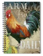 Farm Fresh Red Rooster Sunflower Rustic Country Spiral Notebook
