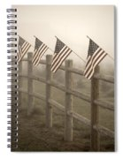Farm With Fence And American Flags Spiral Notebook
