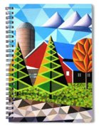 Farm With Three Pines And Cow Spiral Notebook