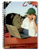 Farmer With Laptop And Cell Phone Spiral Notebook