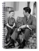 Father And Son Talking And Smiling Spiral Notebook