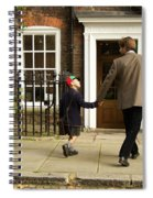 Father And Son Walking Towards Georgian Entrance Spiral Notebook